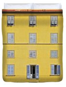 Windows Of Florence Against A Faded Yellow Plaster Wall Duvet Cover