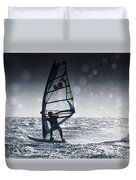 Windsurfing With Water Drops On Camera Duvet Cover