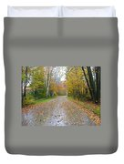 Windy And Rainy Fall Day Duvet Cover
