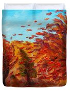 Windy Autumn Day Duvet Cover