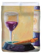 Wine And Cigar Duvet Cover by Todd Bandy