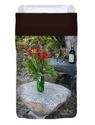 Wine And Red Flowers On The Rocks Duvet Cover