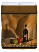 Wine Apples And Cheese Duvet Cover