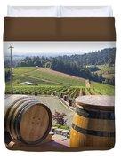 Wine Barrels In Vineyard Duvet Cover