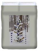 Wine Bottle Sculpture Christmas Card Duvet Cover