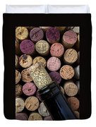Wine Bottle With Corks Duvet Cover