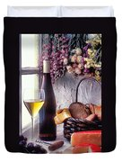 Wine Bottle With Glass In Window Duvet Cover