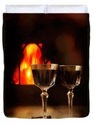 Wine By The Fire Duvet Cover