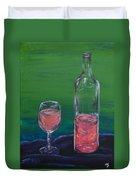 Wine Glass And Bottle Duvet Cover