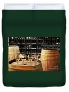 Wine Glasses And Barrels Duvet Cover