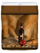 Wine With An Apple And Cheese Duvet Cover