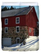 Winery Barn In Winter Duvet Cover by Desiree Paquette