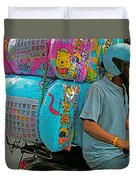 Winnie The Pooh On A Scooter In Bangkok-thailand Duvet Cover