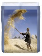 Winnowing Wheat In Iran Duvet Cover