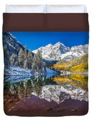 winter and Fall foliage at Maroon Bells Duvet Cover