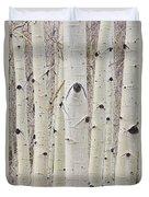 Winter Aspen Tree Forest Portrait Duvet Cover