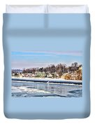 Winter At Boathouse Row In Philadelphia Duvet Cover by Simon Wolter
