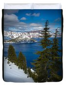 Winter At Crater Lake Duvet Cover