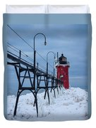Winter At South Haven Lighthouse Duvet Cover