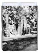Winter At The Creek Monochrome Duvet Cover