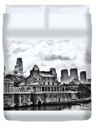 Winter At The Fairmount Waterworks In Black And White Duvet Cover