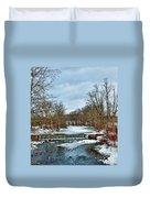 Winter At The Mattabeset River Duvet Cover