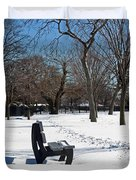Winter At The Park Duvet Cover