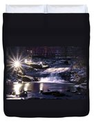 Winter At The Woodlands Waterfall In Wilkes Barre Duvet Cover