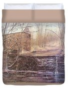 Winter At Wolf Pen Mill Duvet Cover