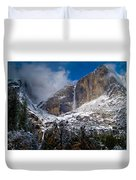 Winter At Yosemite Falls Duvet Cover by Bill Gallagher