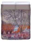 Winter Birches And Red Willows 1 Duvet Cover