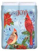 Winter Blue Cardinals-joy Card Duvet Cover