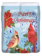 Winter Blue Cardinals-merry Christmas Card Duvet Cover