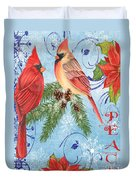 Winter Blue Cardinals-peace Card Duvet Cover