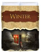 Winter Button Duvet Cover by Mike Savad