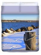 Winter By The Bay Duvet Cover