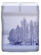 Winter Cabin In The Woods Duvet Cover