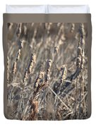 Winter Cattail Abstract Duvet Cover