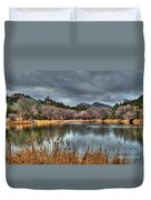 Winter Cattails By The Lake Duvet Cover