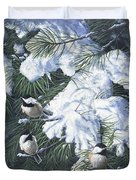 Winter Chickadees Duvet Cover