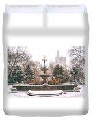 Winter - City Hall Fountain - New York City Duvet Cover