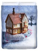 Winter Cottage In Gloved Hand Duvet Cover