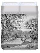Winter Creek In Black And White Duvet Cover