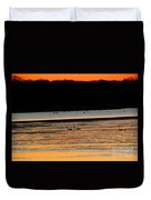 Winter Dawn Swans Duvet Cover