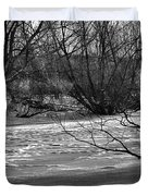 winter day BW-Black and white presentation of Snow on a frozen creek south  Duvet Cover
