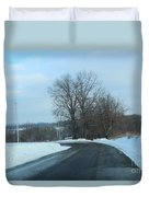 Winter Drive In The Country Duvet Cover
