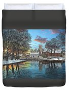 Winter Evening Tickhill Yorkshire Duvet Cover
