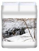 Winter Falls On Big Stone Lake Mn Duvet Cover