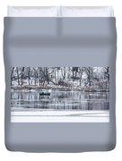 Winter Fishing - Wisconsin River Duvet Cover