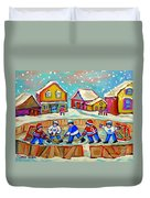 Winter Fun At Hockey Rink Magical Montreal Memories Rink Hockey Our National Pastime Falling Snow   Duvet Cover